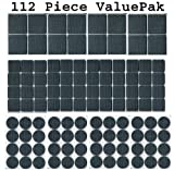 112 Piece Rubber Anti-Skid Pad Value Pack (Furniture and Floor Protectors) 112 pcs of assorted sizes