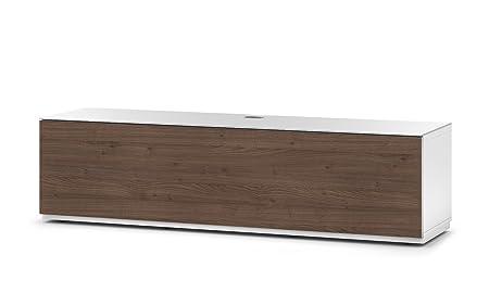 Sonorous STA 160F-WHT-TOR-BS stehende TV-Lowboard mit versteckten Rollen, weißer Korpus, obere Fläche, gehärtetem Weißglas und Klapptur in Holzdekor Tortona
