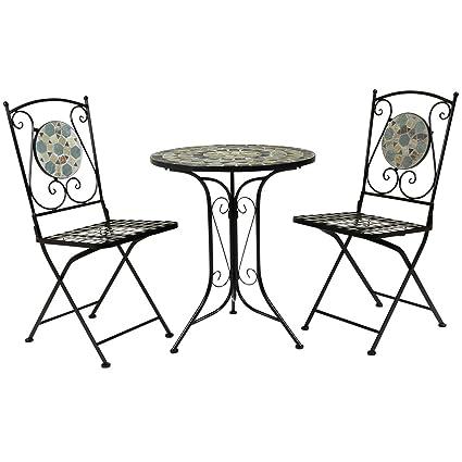 Bentley Garden - Bistro-Sitzgarnitur - Mosaiktisch & 2 Stuhle - Schmiedeeisen
