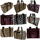 10 Designs: Animal Spotted Polka Dots Paws Newspaper USA Print Oil Cloth Silky Style Waterproof Ladies Shopping OverNight Weekend Holdall Handbag - by Fat-Catz-copy-catz