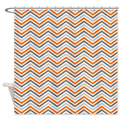 Orange and Gray Chevron Pattern Shower Curtain - Standard White