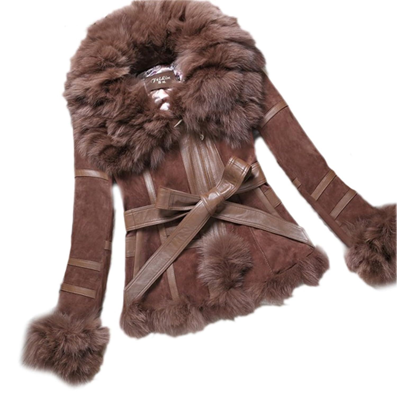 Neu Queenshiny Damen 100% Echte Schwein und Schaf-Leder mit Silber Fuchs Pelz Kragen mantel Jacken Winter Mode günstig bestellen