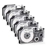 Compatible Casio XR-9WE2S XR-9WE label Tape Cassette, 3/8 Inch(9mm) x26Ft(8m),Black on White, for Casio KL-120 KL-60 KL-60SR KL-100 KL-170 KL-750 KL-780 KL-7400 KL7200 EZ-Label Printing Machines,5Pack (Tamaño: 9mm)
