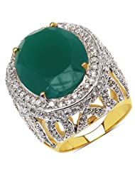 14.00 Grams Green Onyx & White Cubic Zirconia Gold Plated Brass Ring