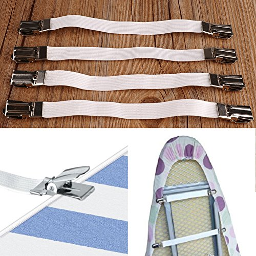 Adjustable Bed Sheet Fasteners Grippers Suspenders/Ironing Board Cover Fasteners/ Bed Sheet Holders/Bed Sheet Strap Multipurpose (Ironing Board Cover Clips compare prices)
