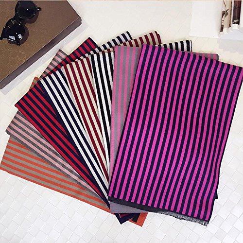 Donna sciarpa di cachemire mezza barra verticale per mantenere caldo in autunnali e invernali sciarpe scialli comfort di duplice uso moda , lm99 dark pink. , 1