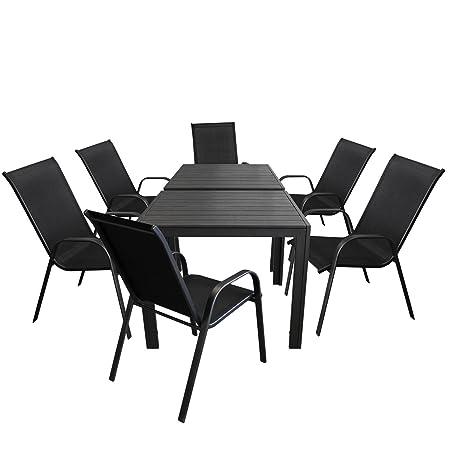 8tlg. Gartengarnitur - 2 x Aluminium Gartentisch 90x90cm, Polywood Tischplatte schwarz + 6x Stapelstuhl, Textilenbespannung schwarz, stapelbar - Gartenmöbel Sitzgruppe Sitzgarnitur