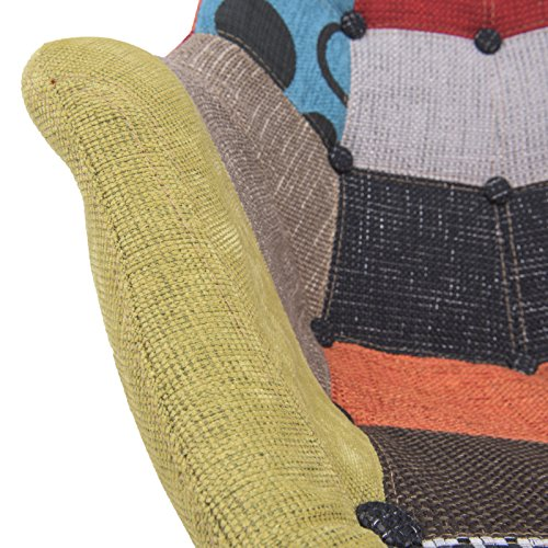 LeisureMod Willow Patchwork Fabric Eiffel Rocking Chair, Multicolor 5