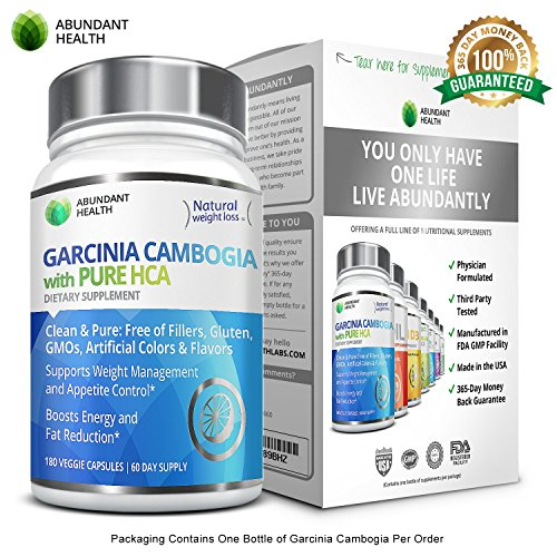 100% Pure Garcinia Cambogia Extract with HCA - 180 Veggie Caps - Natural Appetite Suppressant and Dietary Supplement - FREE of Fillers, Gluten, GMOs, Artificial Colors and Flavors (Pure Hca Extract Naturabest compare prices)