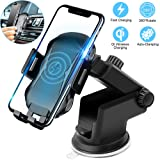 Wireless Charging Car Mount, Auto Clamping Car Phone Holder,10W Qi Fast Car Charger,Adjustable Gravity,Windshield Dashboard Air Vent Compatible with iPhone Xs/Max/X/XR/8/8 Plus,Samsung Note9/S9+/S8 (Color: wireless charging car mount black)
