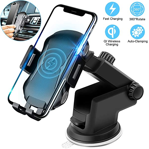 Audio & Video Accessories Accessories 2 in 1 Wireless Car Charger Mount,Automatic Clamping Qi Fast Charging Air Vent Phone Holder