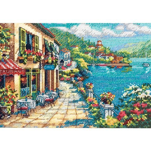 """Gold Collection Petite Overlook Cafe Counted Cross Stitch Kt-7""""X5"""" By Dimensions"""