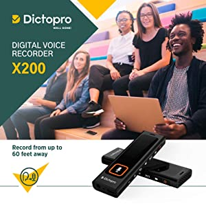 Digital Voice Activated Recorder w/Password Protection - HQ Recording from 60ft, Record Lectures & Meetings, Sensitive Microphone, Automatic Noise Reduction, 582H Playback, Small & Portable, USB, 8G (Color: Black)