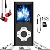 MP3 Player / MP4 Player, Hotechs MP3 Music Player with 16GB Memory SD card Slim Classic Digital LCD 1.82'' Screen with FM Radio,