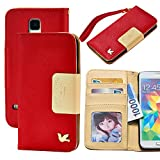 Galaxy S5 Case,Case for Samsung Galaxy S5,By HiLDA,Wallet Case,PU Leather Case,Credit Card Holder,Flip Cover Skin,Galaxy SV I9600[Red]