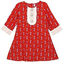 Oye Girls 3/4th Sleeve A-Line Dress - Fuschia/Orange (1-2 y)