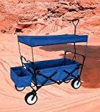 BLUE OUTDOOR FOLDING WAGON WITH CANOPY COVER GARDEN UTILITY TRAVEL CART LARGE ALL TERRAIN BEACH TIRES