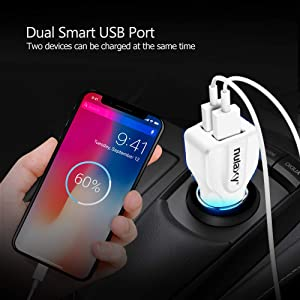 Car Charger, Nulaxy 4.8A/24W Dual-Port USB Phone Car Charger with Smart Identification Compatible with iPhone, iPad, Android Phones and Tablets - Whit