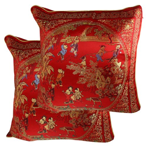 Amico Chinese Embroidery Courtyard Scene Pattern Cushion Throw Toss Pillow Cover 2 Pcs front-1035270