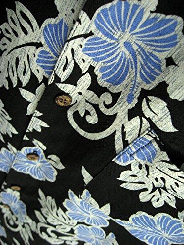 Mens Hawaiian Silk Camp Shirt Black Blue Hibiscus Casual 3