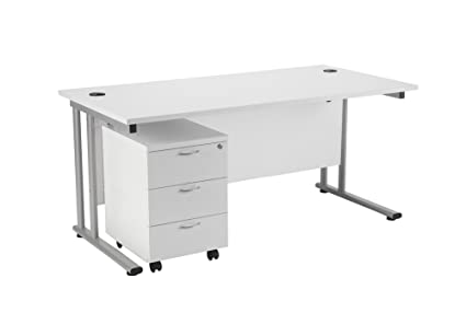 Office Hippo Rectangular Desk, 140 cm with 3 Drawer Mobile Pedestal - White