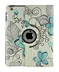 LiViTech Modern Art Flower Design Series 360 Degree Rotating PU Leather Case Cover for Apple iPad 2 3 4 (F128) (Blue)