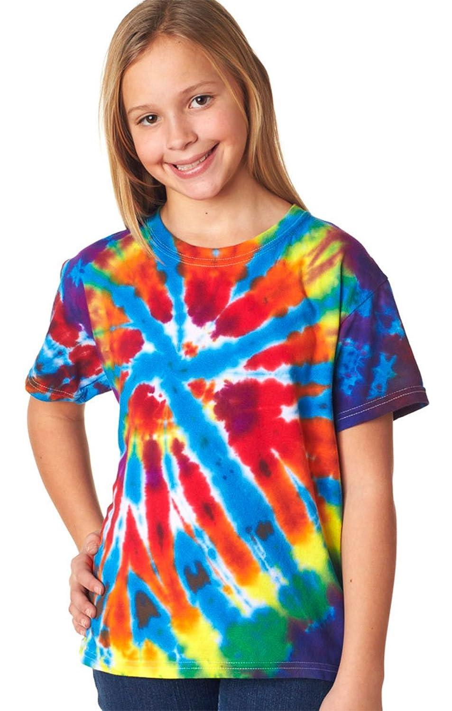 60B Gildan Tie Dye Kids' Rainbow Cut Spiral Tee Blank Tshirt spiral tie dye cloth art