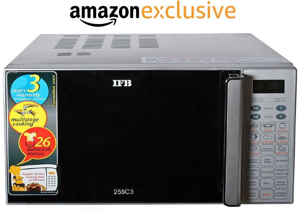 Appliances Fest!! Upto 35% Off On Everything By Amazon | IFB 25SC3 25-Litre 1400-Watt Convection Microwave Oven (Metallic Silver) @ Rs.9,890