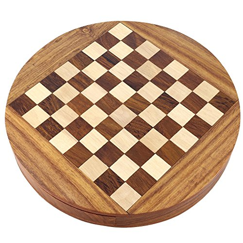 Unique Compact Box Magnetic Round Wooden Chess Board And Pieces Set Gift For Kids Adults 4