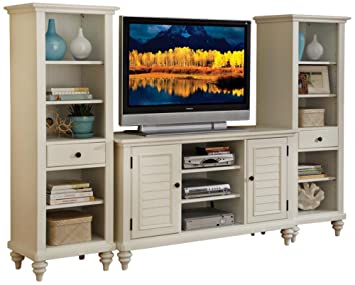 Home Style 5543-34 Bermuda 3-Piece Entertainment Center, Brushed White Finish