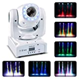 U`King 50W Moving Head Stage Lights 8 Gobos RGBW LED Spotlight with Marquee/Static LED Circle 9/11 Channels DMX for Disco Club Party Wedding Lights (Color: White, Tamaño: mini stage light)