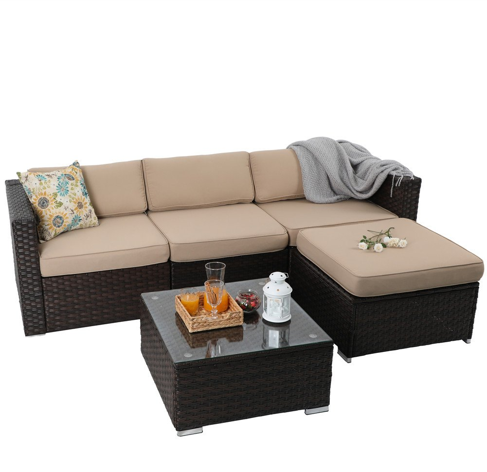 PHI VILLA 5-Piece Outdoor Rattan Sectional Sofa- Patio Wicker Furniture Set, Beige