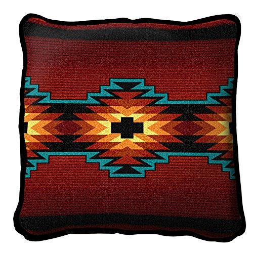 Pure Country Weavers Southwest Geometric Deep Red Pillow 6636-P 17 Inches Wide By 17 Inches Long, 100% Cotton