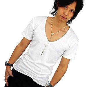 深Vネック 半袖 Tシャツ メンズ ブラック ホワイト チャコール ネイビー グレー パープル