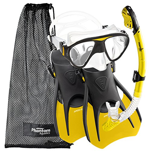 Phantom Aquatics Speed Sport Signature Mask Fin Snorkel Set, Yellow,