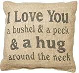"""Country House Collection 8"""" x 8"""" Mini Burlap Pillow """"Bushel and a Peck"""