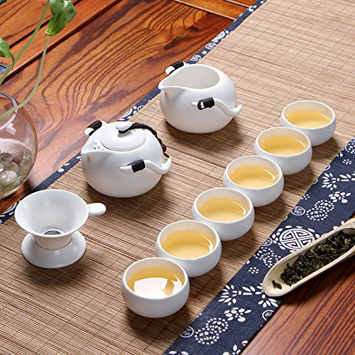 XDOBO Imported Vintage Chinese & Japanese Style Porcelain Handmade Kung Fu Tea Set, 10-pack (White) (Japanese Tea Service Set compare prices)
