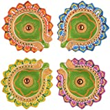 Colorful Handmade Earthen Clay Diya / Terracotta Decorative Diyas / Oil Lamps For Pooja / Diwali / Puja Set Of 4