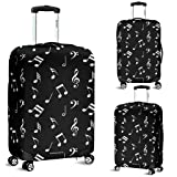 DealioHound Musical Notes Design #1 Black Rolling Travel Luggage Cover/Protector (Small 18-22 in / 45-55 cm) (Color: Black, Tamaño: Small 18 -22 in / 45-55 cm)