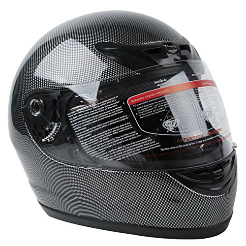 TCMT Adult Carbon Fiber Black Full Face Motorcycle Helmet DOT L (Full Face Carbon Helmet compare prices)