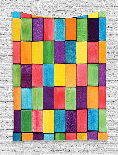 Abstract Colorful Blocks Abstract Cube Shapes Entertaining Vibrant Colors Creativity Image Purple Blue Supersoft Throw Fleece Blanket 59.05