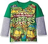 Teenage Mutant Ninja Turtles Toddler Boys Long Sleeve Two-Fer T-Shirt with Thermal Sleeves, Green/Grey, 5T