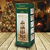 Brubaker Pyramid 24 inch Christmas Nativity Play 4 Tier Carousel with 6 Candle Holder and Handpainted Figures