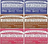 Dr. Bronner's Magic Soaps Pure-Castile Soap, All-One Hemp Peppermint, 5-Ounce Bars (Pack of 6) (variety pack) by Dr. Bronner's