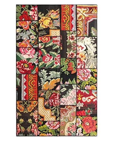 nuLOOM Hand-Knotted One-of-a-Kind Turkish Patchwork Kilim, Multi, 4' 11 x 8' 2