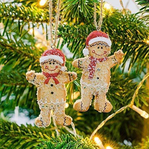Mr et Mme Gingerbread Man Décorations de Noël Aspect Pain d'Épices.