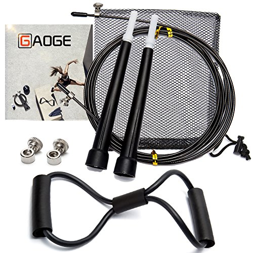 GAOGE Jump Rope With free Resistance Bands Training Crossfit Fitness-rope skipping - rogue fitness-master of muscle jump-outdoor fitness equipment-Best for Crossfit, Double Unders MMA, Boxing