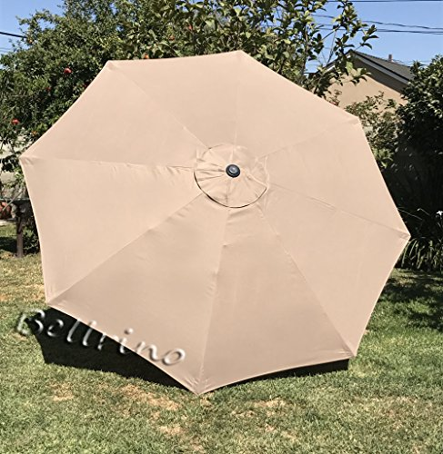 Bellrino Replacement Umbrella Canopy for 9ft 8 Ribs Taupe (Canopy Only) (Patio Replacement Cover compare prices)