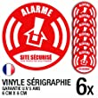 Lot de 6 autocollants / stickers Alarme s�curit�