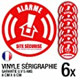 Lot de 6 autocollants / stickers Alarme sécurité